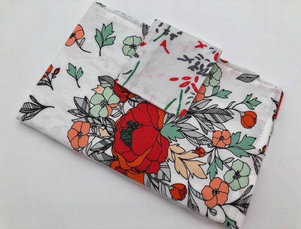 Red Floral Tampon Case, Sanitary Pad Bag, Shark Week Privacy Wallet - EcoHip Custom Designs