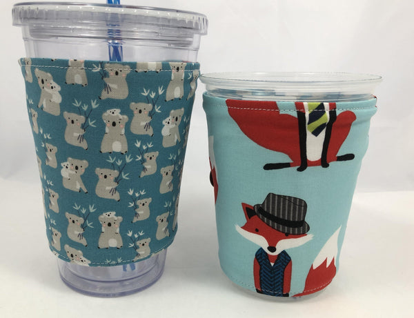 Foxes Reversible Coffee Cozy,  Koala Bear Coffee Cup Sleeve, Blue - EcoHip Custom Designs
