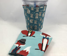 Load image into Gallery viewer, Foxes Reversible Coffee Cozy,  Koala Bear Coffee Cup Sleeve, Blue - EcoHip Custom Designs