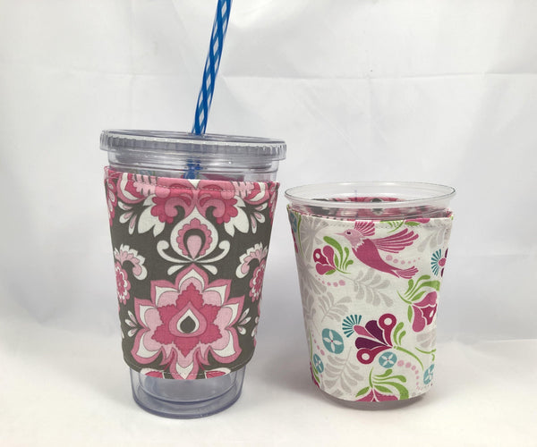 Pink Damask Reversible Coffee Cozy, Pink Bird Drink Sleeve, Insulated Drink Holder - EcoHip Custom Designs