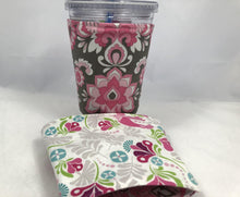 Load image into Gallery viewer, Pink Damask Reversible Coffee Cozy, Pink Bird Drink Sleeve, Insulated Drink Holder - EcoHip Custom Designs