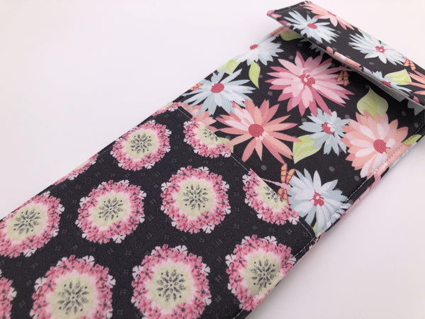 Pink Floral Curling Wand Case, Travel Flat Iron Cover, Heat Resistant Bag, Gray - EcoHip Custom Designs