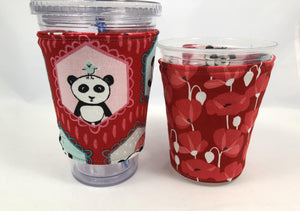 Panda Bear Reversible Coffee Cozy, Red Insulated Iced Coffee Sleeve, Cup Cozy - EcoHip Custom Designs
