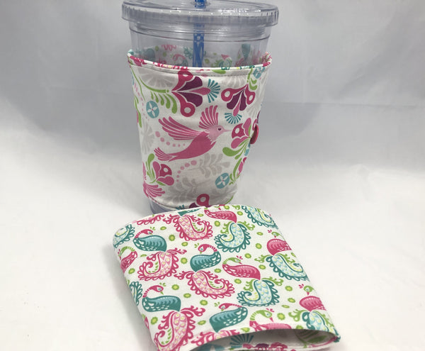Bird Reversible Coffee Cozy, Paisley Insulated Coffee Cozy, Iced Coffee Lovers - EcoHip Custom Designs