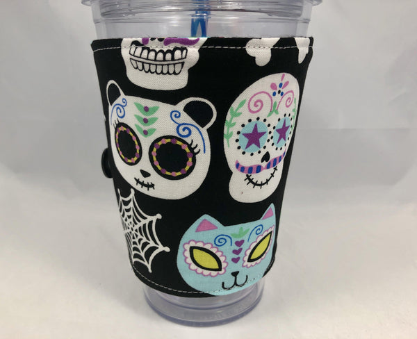 Sugar Skull Reversible Coffee Cozy, Insulated Iced Coffee Cup Sleeve, Day of the Dead - EcoHip Custom Designs