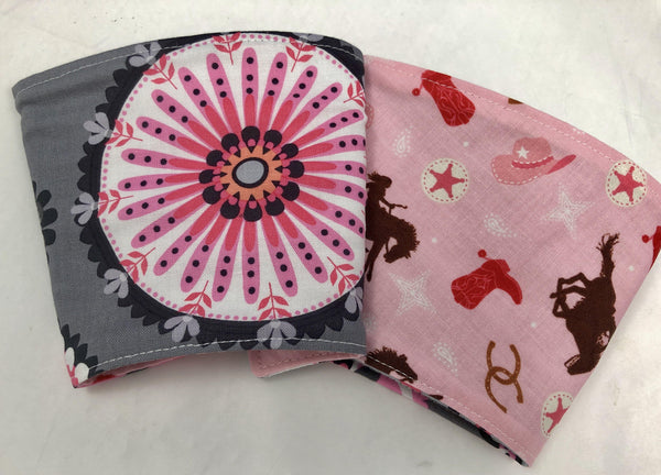 Cowgirl Reversible Coffee Cozy, Pink Cowboy Coffee Sleeve, Coffee Lover - EcoHip Custom Designs