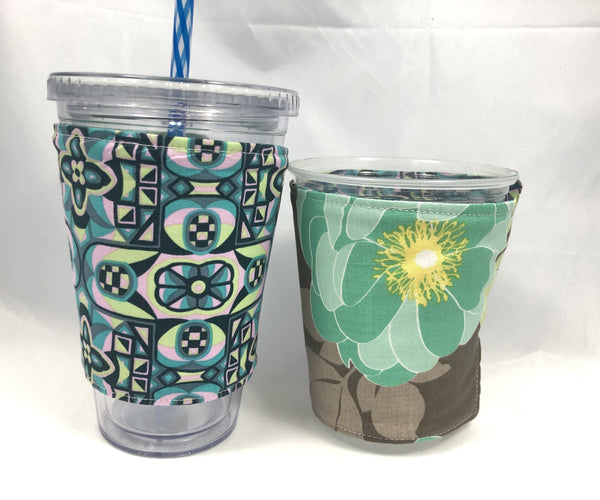 Floral Teal Reversible Coffee Cozy, Gray Iced Coffee Cup Sleeve, Insulated Drink Cozy - EcoHip Custom Designs