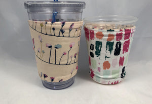 Petals Reversible Coffee Cozy, Retro Iced Drink Cup Sleeve, Hot Tea Lovers - EcoHip Custom Designs