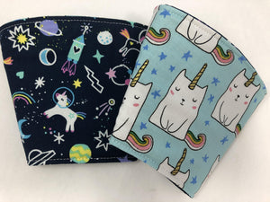 Catirorn Reversible Coffee Cozy, Unicorn Insulated Hot Drink Sleeve, Coffee Lovers - EcoHip Custom Designs