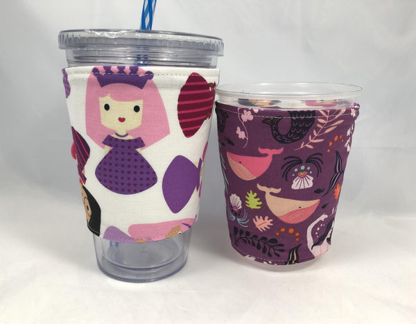 Princess Reversible Coffee Cozy, Mermaid Iced Coffee Cup Sleeve, Pink Hot Drink Cozy - EcoHip Custom Designs