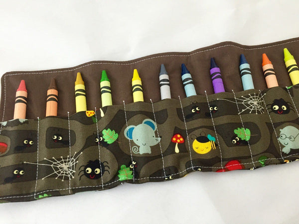 Animal Crayon Roll, Toddler Travel Toy, Kid's Crayon Case, Diaper Bag, Brown - EcoHip Custom Designs