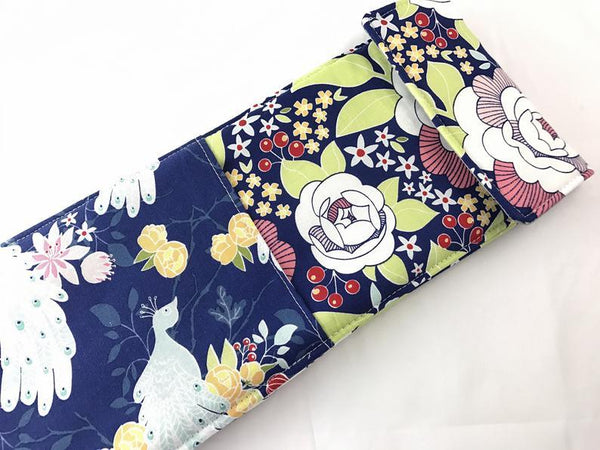 Blue Curling Iron Holder, Floral Flat Iron Bag, Travel Curling Wand Case - EcoHip Custom Designs