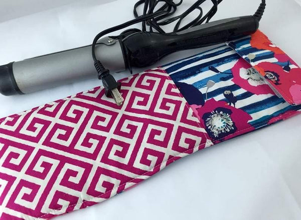 Blue Curling Wand Case, Travel Flat Iron Cover, Hair Straightener Sleeve, Red - EcoHip Custom Designs