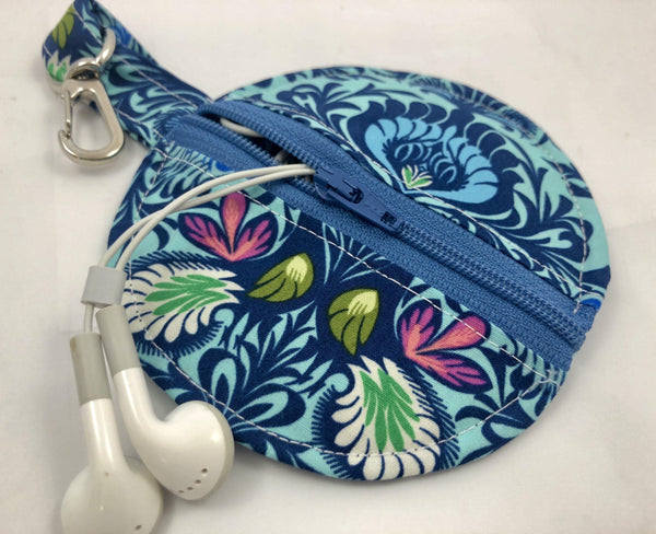 Blue Earbud Case, Ear Bud Pouch, Bluetooth Holder, Tiny Zipper Case, Chapstick, Damask - EcoHip Custom Designs