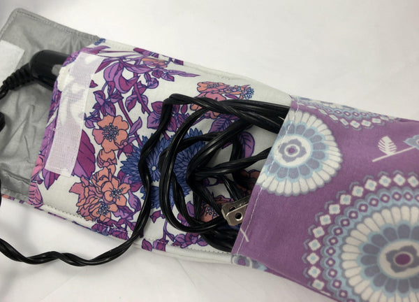 Curling Iron Bag, Travel Flat Iron Sleeve, Heat Resistant Case, Purple, Berry - EcoHip Custom Designs