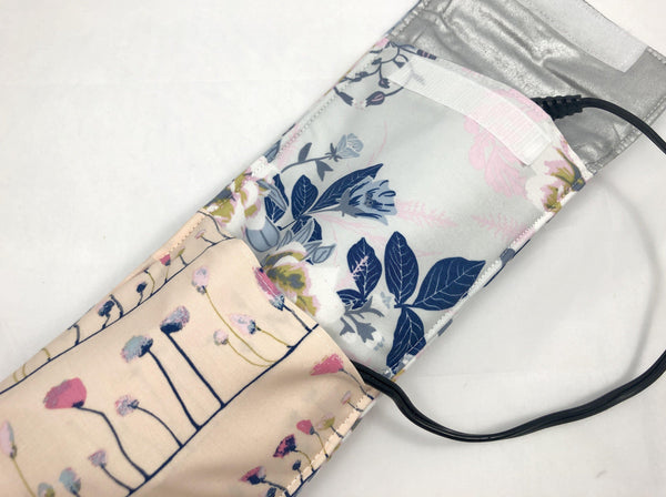 Curling Iron Cover, Flat Iron Case, Travel Bag, Heat Reflective, Wild Posy - EcoHip Custom Designs