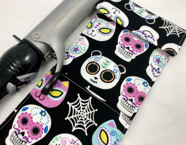 Curling Iron Holder, Flat Iron Case, Travel Heat Resistant Bag, Hair Dressers Gift, Day of the Dead - EcoHip Custom Designs
