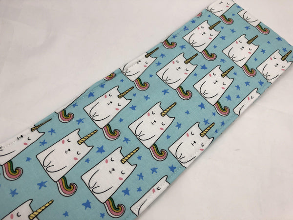Curling Iron Holder, Flat Iron Case, Travel Sleeve, Iron Cover, Caticorn, Blue - EcoHip Custom Designs