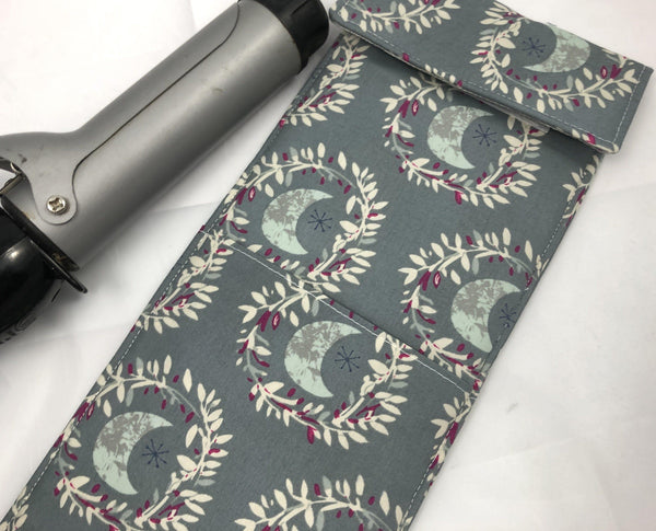 Curling Iron Holder, Flat Iron Cover, Heat-Resistant Bag, Moon Glow - EcoHip Custom Designs