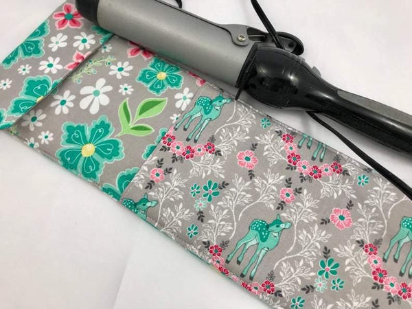Deer Curling Iron Holder, Travel Flat Iron Cover, Curling Wand Case, Floral, Teal - EcoHip Custom Designs