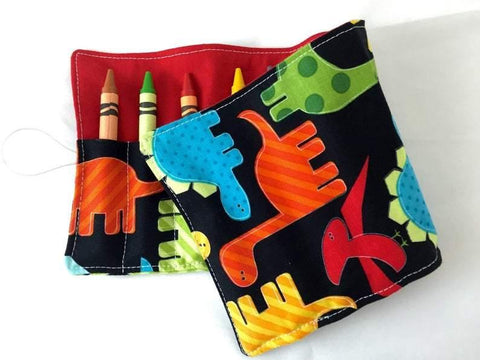 Dinosaur Crayon Roll, Toddler Travel Toy, Boy's Crayon Case, Crayon Wallet - EcoHip Custom Designs