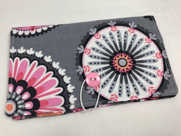 Duplicate Check Book Cover, Pink CheckBook Register, Pen Holder, Checkbook Wallet, Gray - EcoHip Custom Designs