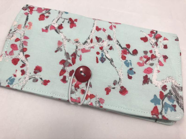 Duplicate Checkbook Cover, Blue Check Book Wallet, Pen Holder, Red - EcoHip Custom Designs