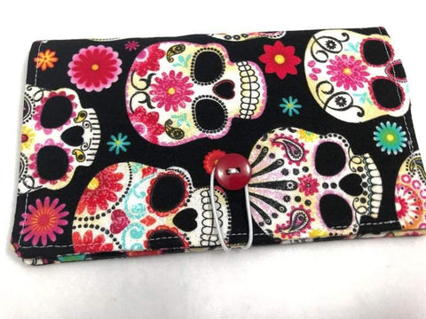 Duplicate Checkbook Cover, Sugar Skull Check Book Register, Pen Holder, Day of the Dead - EcoHip Custom Designs