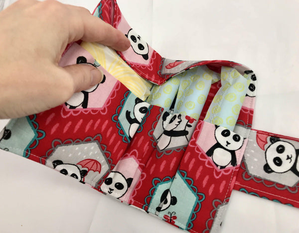 Feminine Products Case, Women's Wallet, Tampon Bag, Red Panda - EcoHip Custom Designs