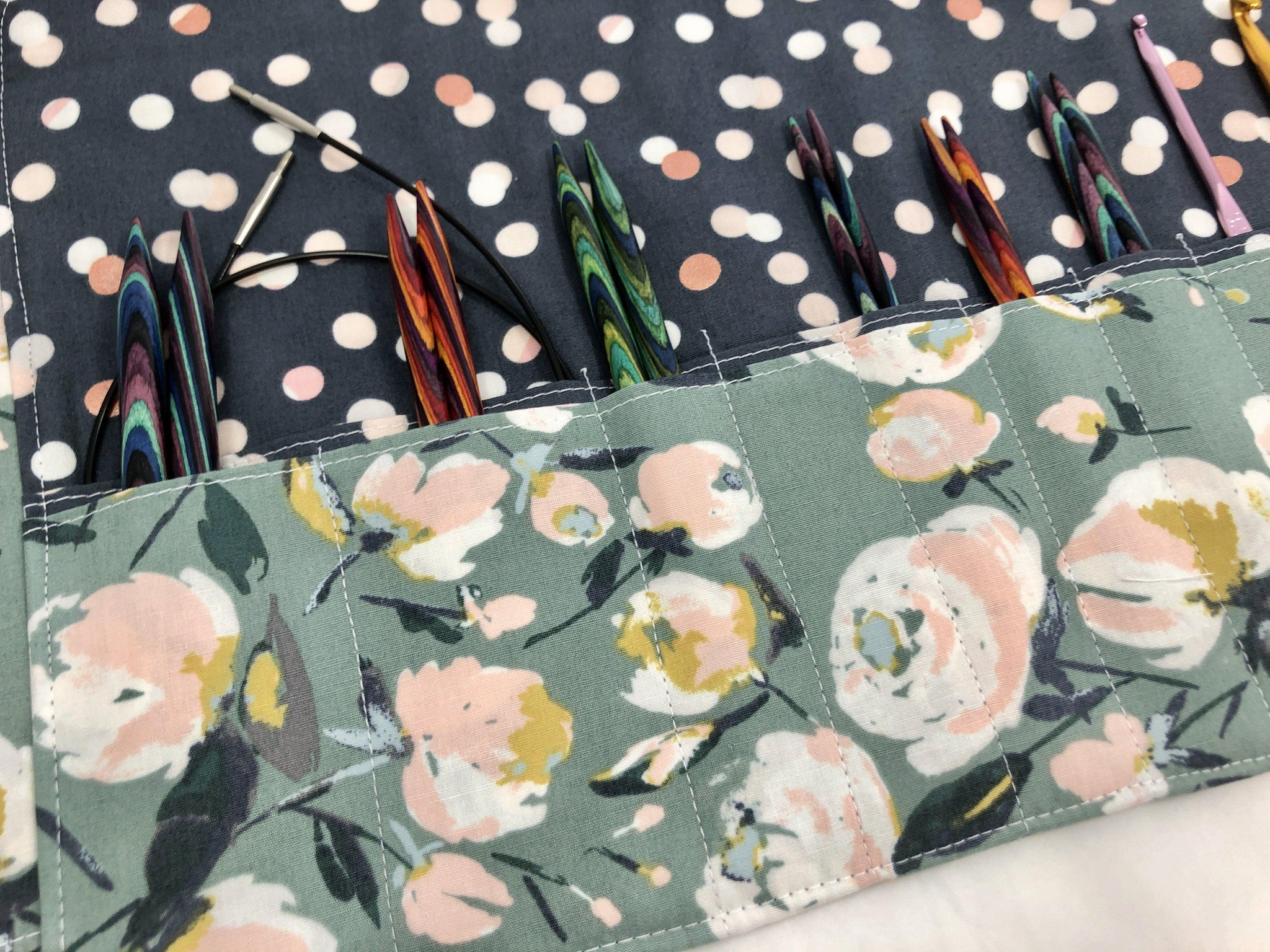 Floral Interchangeable Knitting Needle Case, Crochet Hook Roll, Travel Needle Storage - EcoHip Custom Designs