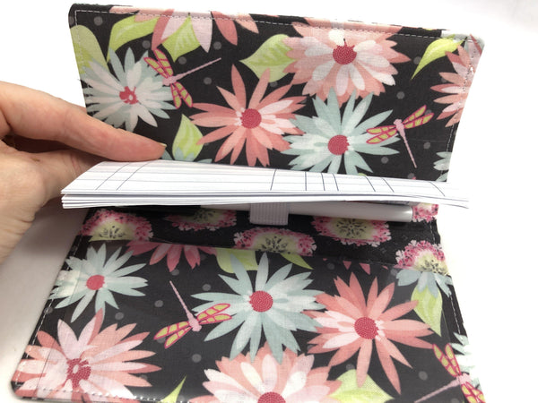 Gray Checkbook Cover, Duplicate Check Book Register, Pen Holder, Floral, Wallet - EcoHip Custom Designs