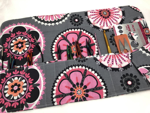 Gray Interchangeable Knitting Needle Storage, Knitting Needle Case, Crochet Hook Roll, Pink - EcoHip Custom Designs