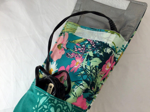 Green  Curling Iron Case, Travel Flat Iron Case, Travel Curling Wand Bag, Floral - EcoHip Custom Designs