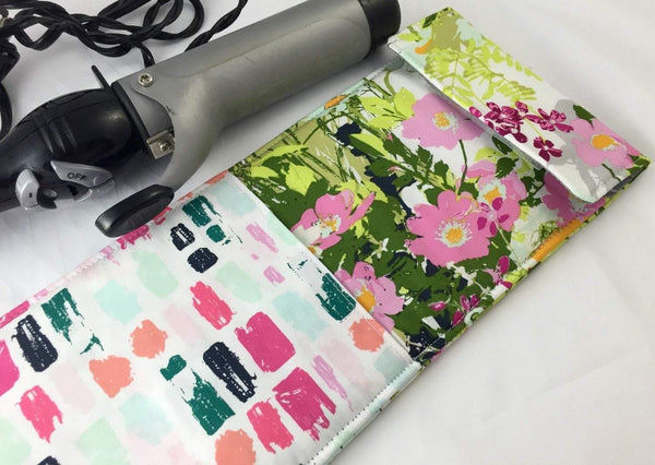 Green Curling Iron Holder, Flat Iron Case, Travel Curling Wand, Straightener Sleeve - EcoHip Custom Designs