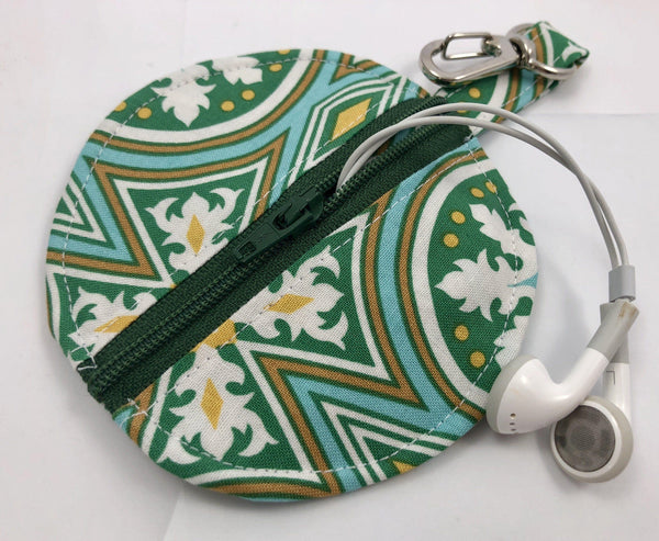 Green Ear Bud Case, Air Pod Zipper Pouch, Pacifier Cozy - EcoHip Custom Designs