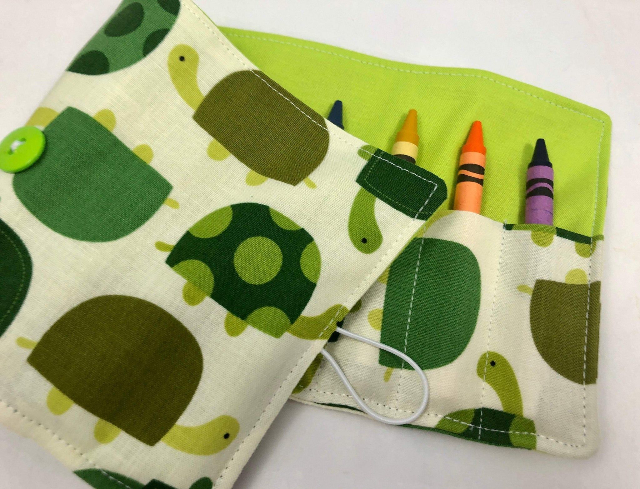 Green Turtle Crayon Roll, Creative Travel Toy, Kid's Crayon Case, Toddler Birthday - EcoHip Custom Designs