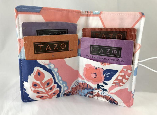 Pink, Blue Floral, Tea Wallet, Travel Teabag Holder, Tea Drinker Gift - EcoHip Custom Designs