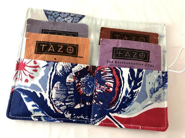 Red, Blue Tea Wallet, Gift Card Case, Teacher's Gift, Travel Teabag Case, Tea Lover - EcoHip Custom Designs