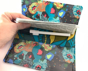 Green Duplicate Checkbook Cover, Posies Check Book Wallet, Women's Checkbook - EcoHip Custom Designs