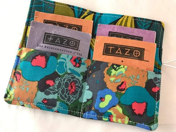 Blue Peonies, Travel Tea Wallet, Tea Bag Cozy, Green Gift Card Case - EcoHip Custom Designs