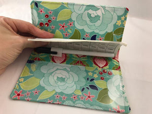 Teal Floral Duplicate Checkbook Cover, Pen Holder, Fabric Check Book Wallet - EcoHip Custom Designs