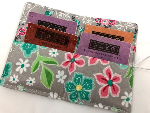 Gray Floral Teabag Wallet, Travel Tea Bag Case, Small Women's Wallet - EcoHip Custom Designs