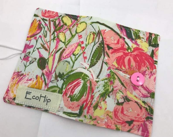 Pink Floral, Tea Bag Wallet, Travel Tea for Purse, Gift Card Case, Green - EcoHip Custom Designs