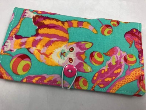 Kitty Cat Checkbook Cover, Women's Duplicate Check Book, Pen Holder, Pink - EcoHip Custom Designs