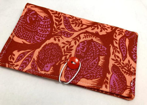 Animal Checkbook Cover, Orange Duplicate Check Book, Pen Holder, Rabbit, Porcupine - EcoHip Custom Designs