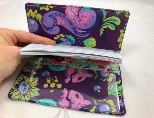 Squirrel Duplicate Checkbook Cover, Purple Checkbook Register, Pen Holder - EcoHip Custom Designs