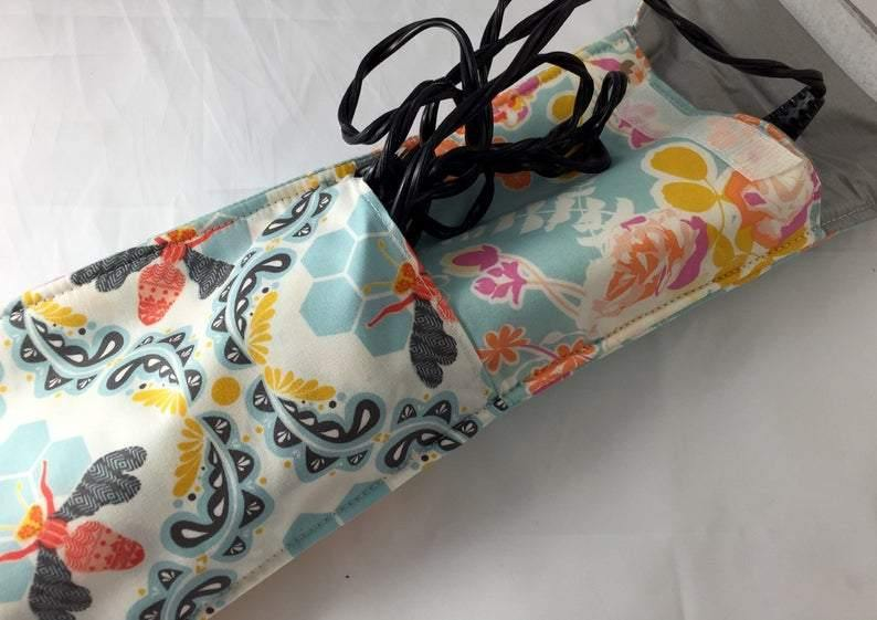 Honey Bee Curling Iron Case, Travel Hair Straightener Bag, Heat Resistant, Blue Floral - EcoHip Custom Designs