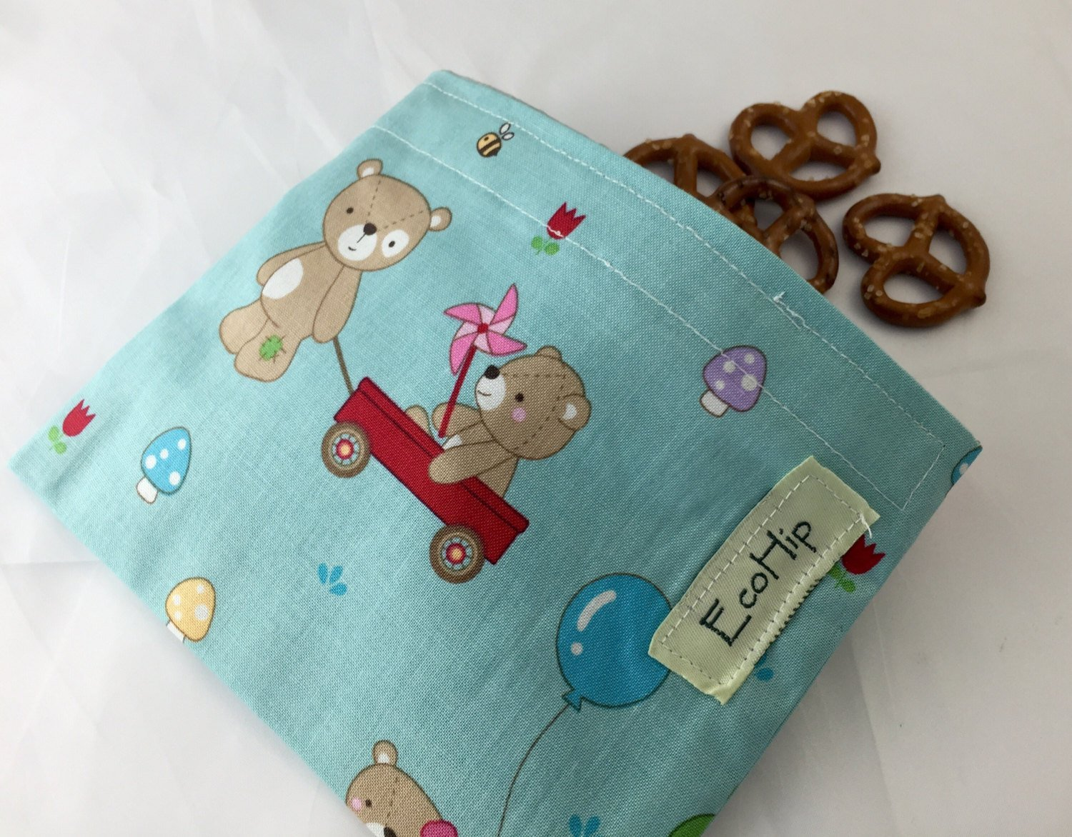 Blue Reusable Snack Bag, Teddy Bear Snack Pouch - EcoHip Custom Designs