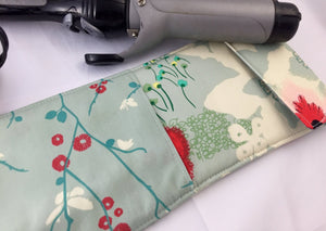 Blue Flat Iron Case, Travel Hair Straightener Holder, Floral Curling Iron Cover - EcoHip Custom Designs