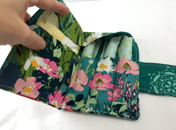 Green Sanitary Pad Holder, Teal Garden Tampon Wallet, Shark Week Bag - EcoHip Custom Designs